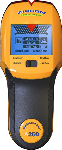 "Zircon Stud Finder Pro/DIY 4 in 1 MultiScanner A250 Wall Scanner; Stud/DeepScan Modes Detect Edges/Center of Wood/Metal to 1 ½"" Metal Mode Lath & Plaster AC Mode Detects Live, Unshielded AC US Model"