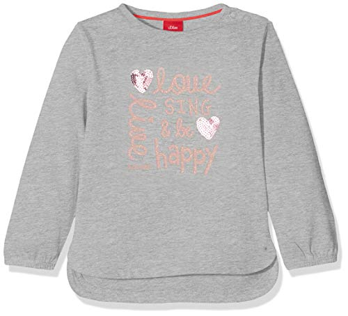 s.Oliver Baby-Mädchen 65.908.31.8705 Langarmshirt, Grau (Grey Melange 9400), (Herstellergröße: 80)