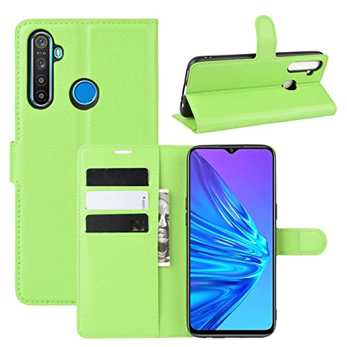 HUANGCAIXIA Shell Protector del teléfono móvil para el Caso del tirón del Cuero Horizontal OPPO Realme 5 Litchi Textura con la Billetera y el sostenedor y Ranuras para Tarjetas (Color : Green)