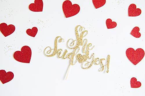 Ze Zei Ja Cake Topper voor Bruiloft Verloving Verjaardag Elopement Vow Vernieuwing Zelfde Seks Huwelijk Gepersonaliseerde Glitter Decoraties