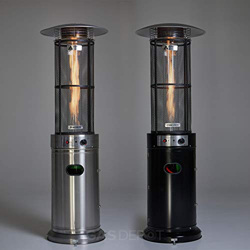 REALGLOW 15 KW Flame Patio Heater with Glass Tube (Black)