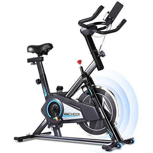 Profun Bicicleta Estática de Spinning Profesional, Ajustable Resistencia, Pantalla LCD, Bicicleta Fitness de Gimnasio Ejercicio con Volante de Inercia, Sillín Ajustable, Máx.130kg (Negro)