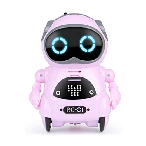 ポケットロボットPocketRobot知育玩具英語練習ロボットおもちゃ【正規品日本語パッケージ日本語説明書】ミニサイズコミュニケーションロボットダンス歌スマートロボット音声認識英会話クリスマスこども家庭用癒し(ピンク)