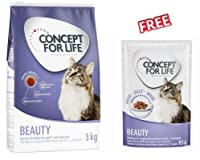 Concept for Life Beauty 3kg dry cat food is formulated to support healthy skin and shiny fur. This complete dry food is suitable for cats with sensitive skin and provides your pet with a balanced, nutritious meal while supporting all-round, good heal...