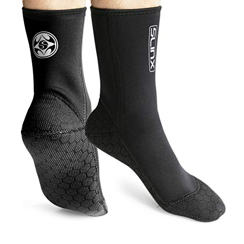 PAWHITS Neopren-Socken für Neoprenanzug 3 mm Thermosocken rutschfest für Herren und Damen zum Tauchen Schnorcheln Schwimmen Surfen Segeln Kajakfahren S Schwarz