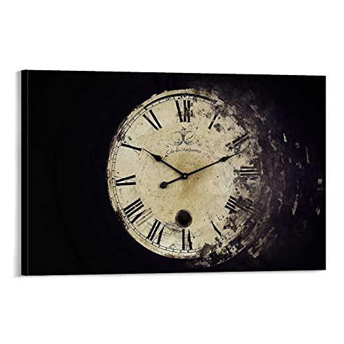 Tianfa - Poster classico vintage con orologio da tasca (1) su tela e stampa artistica da parete, 60 x 90 cm