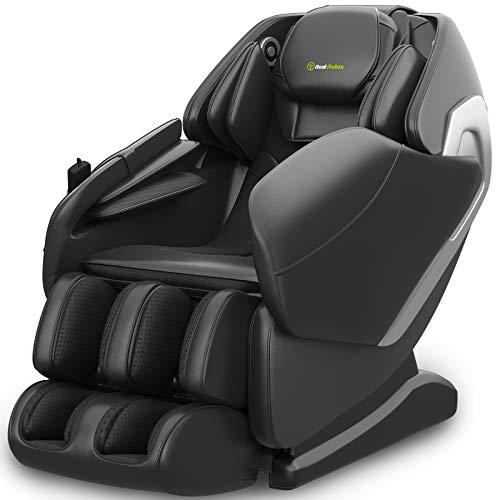 Real Relax Massagesessel, SL-Track Schwerelosigkeit Shiatsu Massagestuhl Liegesessel für den Ganzkörper mit Musikmassage, Body-Scan-Technologie, Bluetooth, Luftdruckmassage Für Zuhause Büro