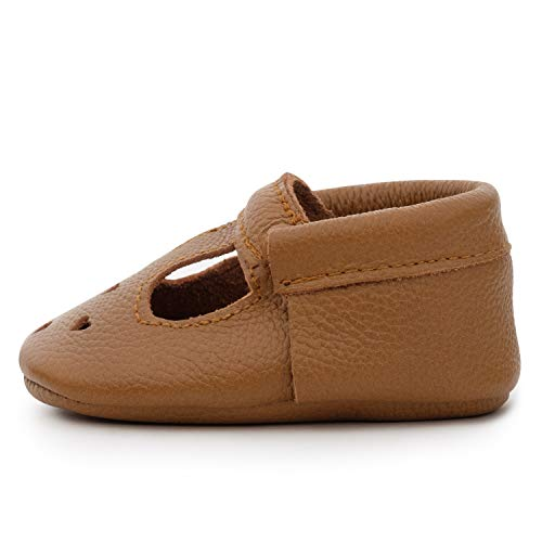 BirdRock Baby Mary Jane Moccasins - Genuine Leather Soft Sole Baby Girl Shoes for Newborns, Infants, Babies, and Toddlers (Classic Brown, US 5.5)
