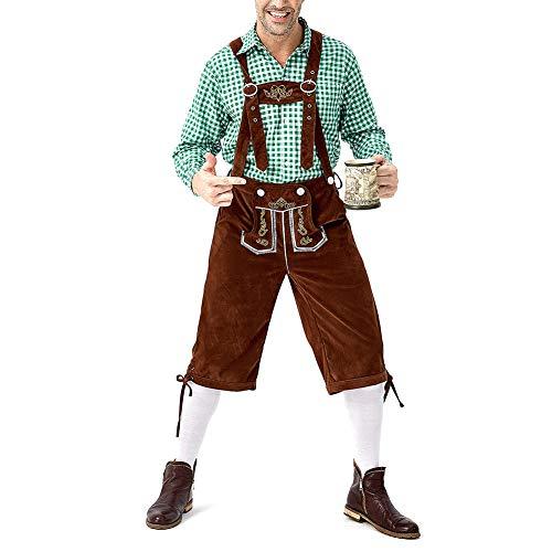 Oyria Bavarian Lederhosen - Pantalones de Piel de Vaca con Tirantes a Juego para Hombre con Camisa para Oktoberfest y Beer Fest, algodón, Green & Brown, Medium