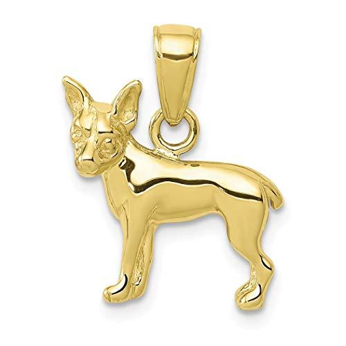 Collar con colgante de perro de Chihuahua de oro de 10 quilates para mujeres, mayor grado de oro que...