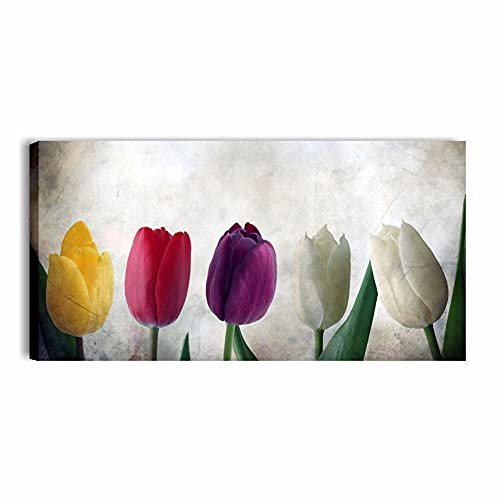 Quadri L&C ITALIA Tulipani Vintage - Quadro Moderno Soggiorno Camera da Letto Cucina con Fiori 90 x 45 Stampa su Tela Canvas da Parete Fiori Shabby Chic
