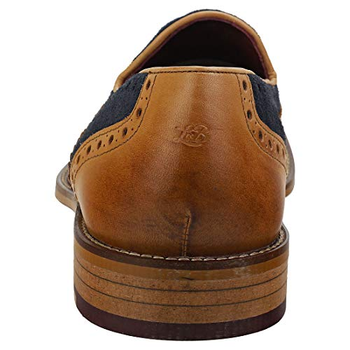 London Brogues Louis Tan/Navy Mens Tassel Brogue Loafer Shoes, Size 10