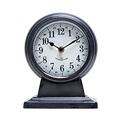 NIKKY HOME Table Clock, Silent Non-Ticking Battery Operated Decorative Metal Tabletop Clock for Home, Office, Living Room, Bed Room