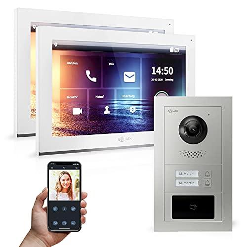 Goliath Hybrid | 2 cables | Videoportero Full HD | App | 2-Fam | 2 pantallas táctiles de 10 pulgadas | placa de puerta empotrada de aluminio | + RFID | ultra gran ángulo de 180° | AV-IPS-532