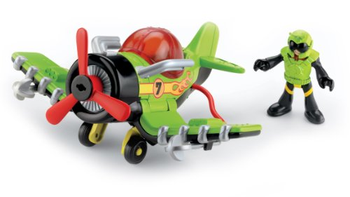 Imaginext - V4103 - Figurine - Transport et Circulation - Avion à Helice + Figurine