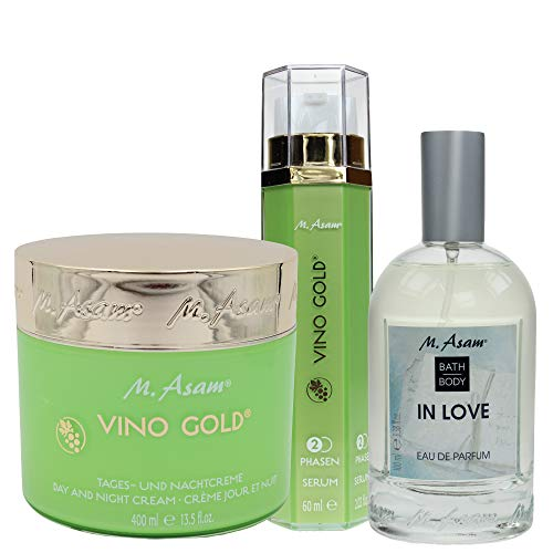 M. Asam® Vino Gold® Tages-und Nachtcreme 400ml + 2-Phasen-Serum 60ml + Eau de Parfum In Love 100ml