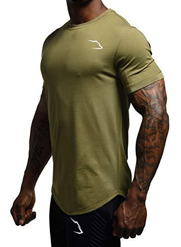Grizzly Wear Elementary - Camiseta deportiva para hombre para entrenamiento al correr, gimnasio o estilo de vida verde oliva S