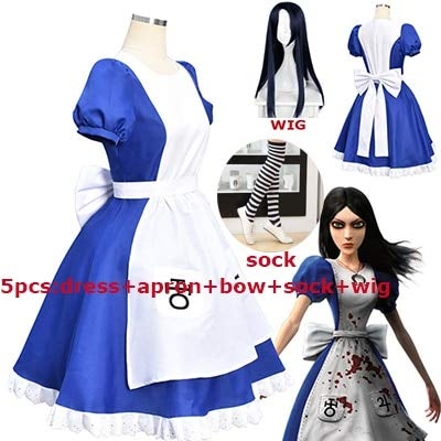 WSJDE 5pcs/Set Game Alice Madness Returns Party Cosplay Costume Halloween Carnival Uniforms Blue Maid Dress Restaurant Servant Outfit S Show