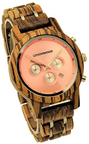 Armbanduhr aus Holz Holzuhr aus Zebranoholz Damenuhr Herrenuhr Chronograph Quarzuhr Lemonwood Hillier