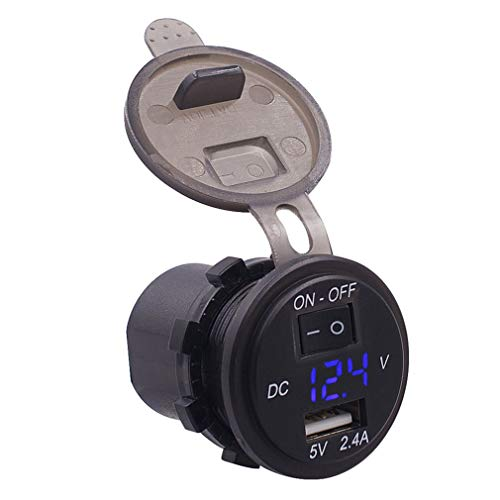 bansd Voltímetro Digital para Coche de 12 V, medidor de voltios, Cargador USB con Control de Interruptor, luz Azul Negra