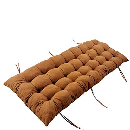 Cojín reclinable grueso para banco al aire libre, cojín para asiento de jardín, columpio largo, antideslizante, con lazos para 2 3 plazas (marrón, 110 x 55 x 8 cm)