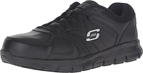 Skechers mens Ekron fashion sneakers, Black Leather, 10.5 US