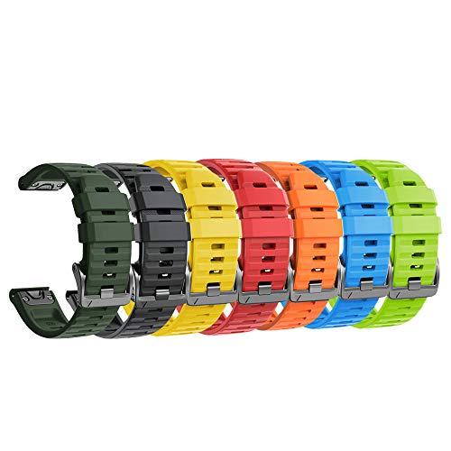 NotoCity Armband für Garmin Fenix 6X /Fenix 6X Pro/Fenix 3 /Fenix 3 HR/Fenix 5X /Fenix 5X Plus, Estrazarmband Quick-Fit 26mm Breite Silikon Uhrenarmband für Garmin, Mehrfache Farben (7PCS)