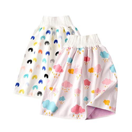 Ashui 2 Stück Baby Windelrock, 2 in 1Töpfchen Trainingsrock Windelrock Wiederverwendbare Töpfchen Windelhose wasserdichte und saugfähige Shorts für Kleinkinder