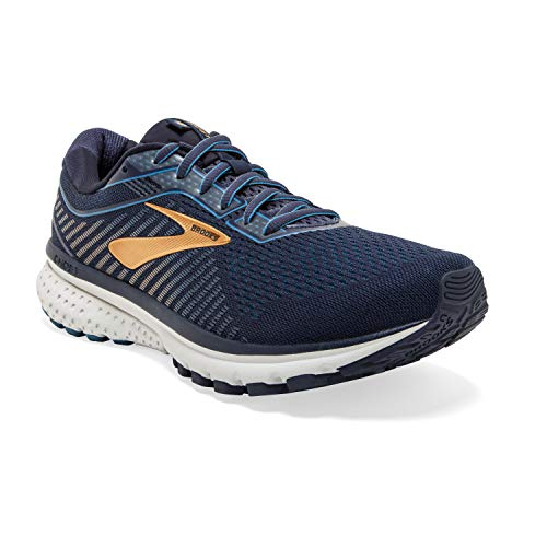 Brooks Men's Ghost 12, Navy/Gold, 14 EE
