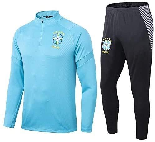 PARTAS Offizielle Fußball-Geschenk Langarm Brasilien Tracksuits Football Wear Verein Uniform Trainingsanzug Brasilien Wettbewerb Anzug Herren-Top + Pants (Size : XL)