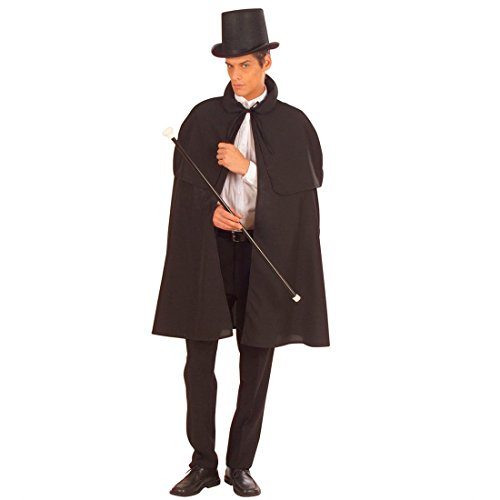 NET TOYS Vampir Umhang mit Pelerine Kutscher Edelmann Gewand Vampirumhang Cape Mittelalter Mantel Sleepy Hollow Halloween Detektiv Sherlock Holmes Kostüm Zubehör