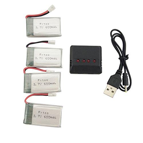 Fytoo 4pcs 3.7V 600mah Lipo Batería y 4 en 1 Cargador para MJX X708 X708W X709 UDI U45 U45W U42 U42W SYMA X5C X5SW X5SC E32HW SS40 FQ36 T32 T5W H42