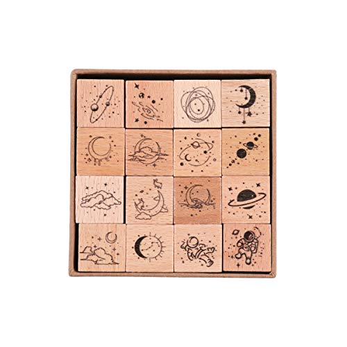 RisyPisy 16 Pieces Vintage Wooden Rubber Stamps, Universe & Galaxy Decorative Rubber Stamp Set, Wood Mounted Rubber Stamps for Arts and Crafts, Bullet Journals, Card Making, Scrapbooking