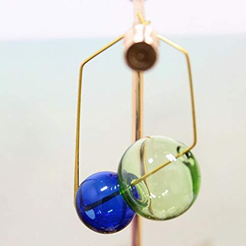 DFDLNL Pendientes de aro Cuadrados de Bolas de Cristal Dobles de latón para Mujer Pendientes de Burbuja ElegantesAzul y Verde