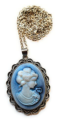 Kette mit Medaillon blaue Kamee Anhänger Silberkette 60cm DIY Gemme