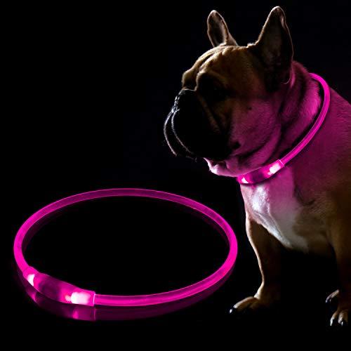 KABB LED Hundehalsband, USB Wiederaufladbares Blinkhalsband für die Sicherheit bei Nacht, Verstellbares, Wasserdichtes, Hell Beleuchtetes Halsband für Hunde - Eine Grösse passt Allen, Rosa