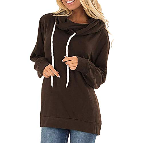 Womens Hoodie Sweatshirts Casual Hooded T-Shirt Loose Drawstring Pullover Hoody Tops with Pockets Coffee