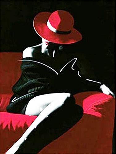 Bordado de diamantes rojo y negro 5D DIY pintura de diamantes mujer punto de cruz mosaico de diamantes de imitación pintura de diamantes A11 50x70cm