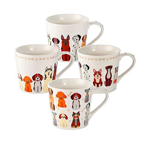Juego 4 Tazas de Café Originales, Tazas Grande Mug para Te, Resistente a Lavavajillas y Microondas, Tazas con Perros, Regalos Perros Mujer Hombre y Madre Perros
