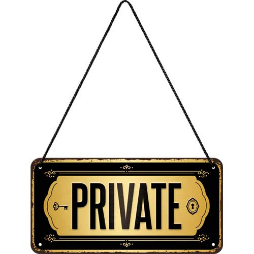 Nostalgic-Art, Cartel colgante retro, Private – Letrero de advertencia como idea de regalo, metálico, Diseño vintage para decoración, 10 x 20 cm