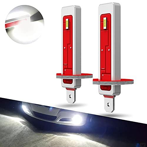 Pulilang Bombillas LED Antiniebla H1 CSP Chips 6000K 40W 5000LM Xenón Blanco LED de Conducción Diurna Lámparas Antiniebla DRL 12-24V Sin Polaridad - 2 Lámparas