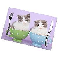ランチョンマット ランチマット スコティッシュフォールド 子猫 コップ ネコ 紫 テーブルマット 撥水 防汚 断熱 滑り止め 雰囲気アップ 水洗い 家庭 レストラン用 6枚セット30cm×45cm
