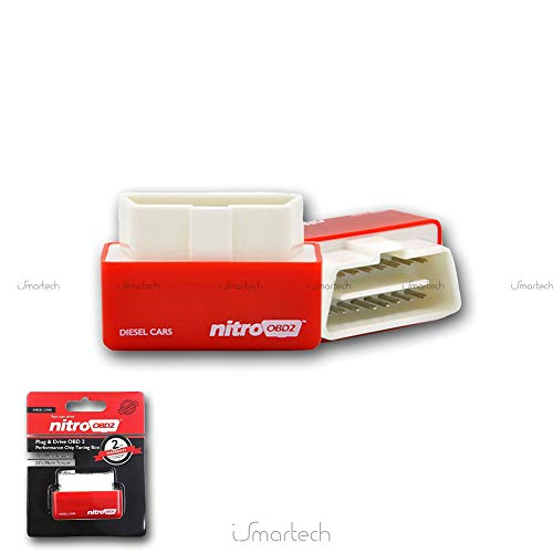 KingNew Plug Drive Eco Nitro OBD2 Chip Tuning Box, Benzine Diesel Cars Performance (Red-Nitro)