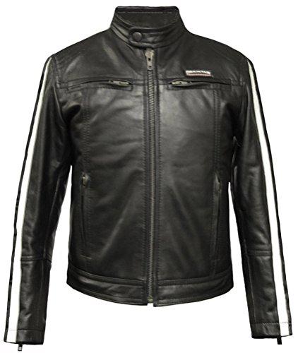 Giacca da Moto vera pelle Leatherbox bambino Nero