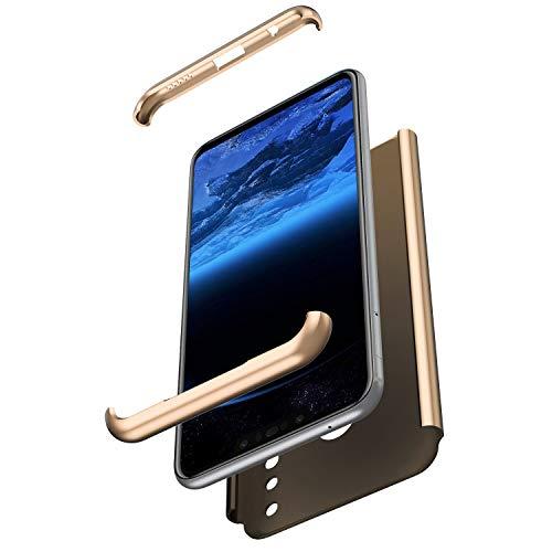 JAWSEU Coque Huawei P Smart Plus,Huawei P Smart Plus Housse Etui en PC Dur Mince Léger Étui Housse Hard Case 360 Degrés Full Body Verre trempé Protection écran Anti-Choc Bumper Case/Or