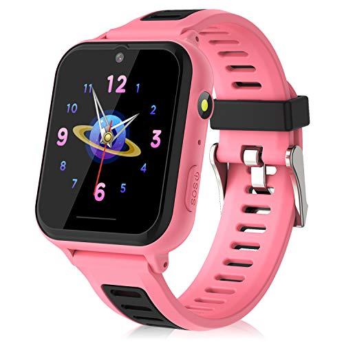 Kinder SmartWatch - MP3 Musik 14 Spiele Kids Smart Watch Anruf Chat SOS Taschenlampe Digitalkamera, Uhr mit Telefon Kamera Wecker Recorder Rechner Video Geschenk für Kinder Junge Mädchen(Pink)