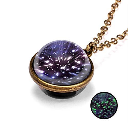 Janly - Collar para mujer, diseño de galaxia que brilla en la oscuridad, doble cara con forma de cúpula de cristal, colgante para el día de San Valentín, color, talla L