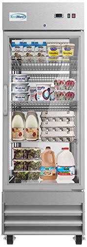 KoolMore 29' Stainless Steel 1 Glass Door Commercial Reach-in Refrigerator Cooler - 23 cu. ft