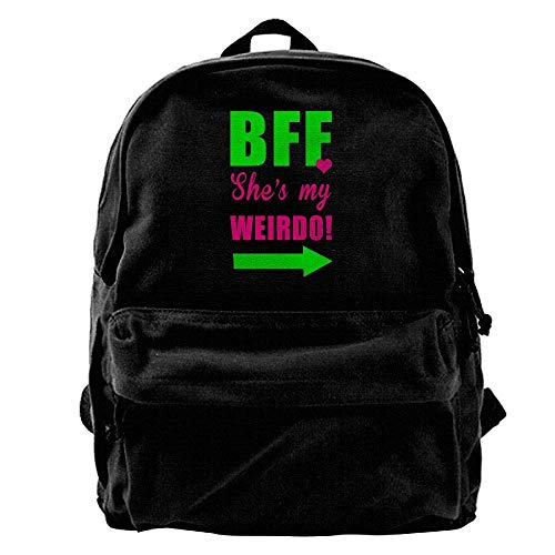 hengshiqi Backpack, BFF Shes My Weirdo Outdoor Backpack School Bags Travel Backpack Canvas Christmas Backpack Unisex Boys and Girls