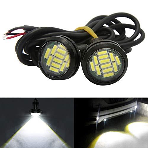 Taben, 2 luci a LED Eagle Eyeda 23 mm per auto ad alta potenza 4040-12SMD, 9 W, luce bianca, per paraurti DRL, fendinebbia, luci diurne e luci di retromarcia
